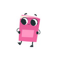 cute pink book or notebook cartoon character vector image vector image