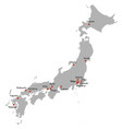 detailed map of the japan vector image vector image