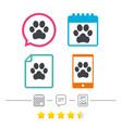 Dog paw sign icon pets symbol