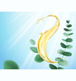 eucalyptus branch and oil splash vector image vector image