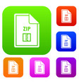 file zip set collection vector image vector image