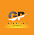 gp g p letter modern logo design with yellow vector image vector image