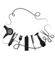 hair curls and tool for hair stylist silhouette vector image vector image