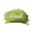 hand drawn lettering natural on a paint brush vector image