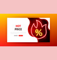 hot price sale neon landing page vector image vector image