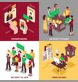 isometric crowdfunding 2x2 design concept vector image