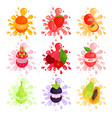 juicy ripe fruits splashing set of colorful vector image