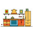kitchen interior with table stove and fridge vector image vector image