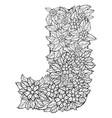 letter j dudling drawing mandala vector image