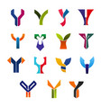 letter y abstract business icons or symbols vector image