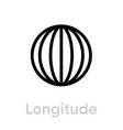 longitude from pole to pole meridians icon vector image