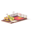 low poly food truck and basketball court vector image vector image
