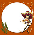 man in sombrero playing on violin poster vector image vector image