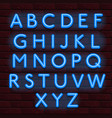 neon banner blue color alphabet font bricks wall vector image