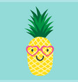 pineapple with glasses in the form of the heart vector image