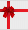 realistic 3d red bow and ribbon isolated on vector image vector image