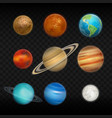 realistic solar system planet icon set vector image vector image