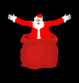 santa claus from open red bag christmas and new vector image