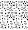 seamless hand drawn stars starry sky sketch vector image vector image