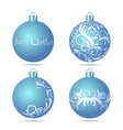 Set of Blue Christmas balls on white background vector image vector image