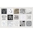 Set of creative cards Hand Drawn textures made vector image