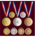 set of patterns medals of gold silver bronze vector image vector image