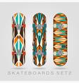 Skateboard set Retro tracery vector image