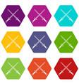 swords icon set color hexahedron vector image vector image