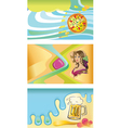 Three templates for visit cards- pizza beer wine vector image vector image