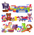 toy piles cute colourful kid toys pile with car vector image vector image