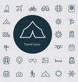 travel outline thin flat digital icon set vector image