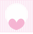 Valentines card with pink heart and white place vector image vector image