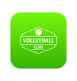 volleyball icon green vector image vector image