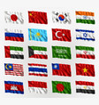 waving flags asian countries vector image