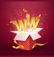 win gold text flies out red gift box vector image