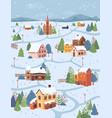 winter landscape rural city village in snow houses vector image