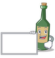 with board wine bottle character cartoon vector image