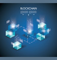 block chain with connected crystal block miner of vector image vector image
