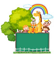 board template with wild animals and girl vector image vector image