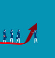 businesswoman team moves up on the red arrow vector image