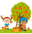 children picking oranges under an orange tree vector image vector image