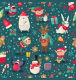 christmas characters seamless pattern santa claus vector image vector image