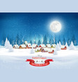 christmas evening landscape with winter village vector image vector image