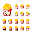 Collection of difference emoticon french friest vector image vector image