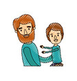 color crayon stripe caricature half body bearded vector image vector image