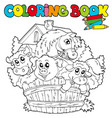 coloring book with cute animals 2 vector image