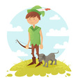Cute cartoon robin hood boy character vector image