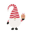 cute cheerful gnome with gift christmas vector image vector image