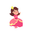 cute little princess in pink dress cartoon vector image vector image