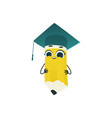 cute pencil cartoon character in square academic vector image vector image